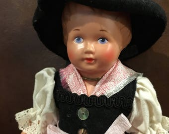 8 1/2 inch Celluloid Vintage Switzerland swiss miss doll