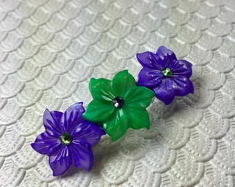 Violet and Green Peruvian Lily Mother of Pearl Flower Barrette