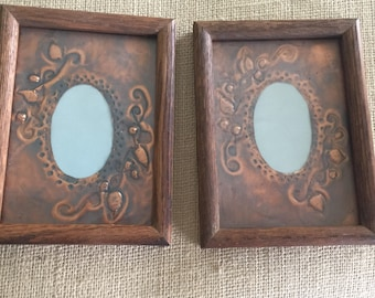 Matching Pair of 5 by 7 inch Wood  Frames with Copper Mats