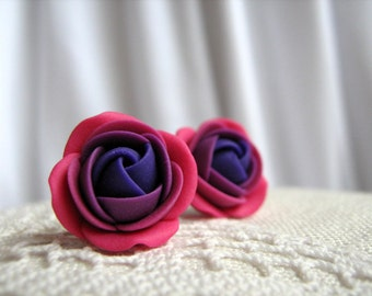 Polymer clay earrings - Raspberry lilac violet rose flower stud earrings
