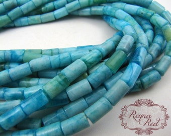 Aqua Dyed Jade Smooth Tube Beads, light blue gems, jade beads, gemstone strands, natural gemstones, tube beads - reynaredsupplies