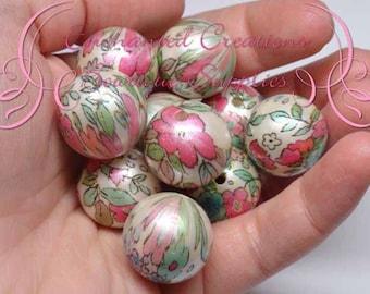 20mm Watercolor Flower Print Beads, Pink Green Aqua Print Bubblegum Bead, Gumball Beads, Printed Beads, Chunky Beads, Large Jewelry Beads