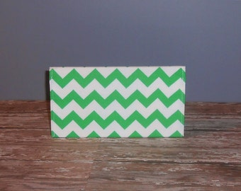 Checkbook Cover - Green Chevron