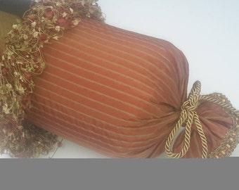 Rust, Gold Silk Designer Bolster Pillow, Custom Pillows - Size 29 in x 7 in