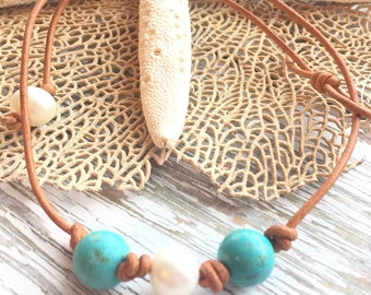 Womens Turquoise and Pearl Leather Choker Necklace, women's southwestern jewelry, gift under 30, turquoise necklace, turquoise choker