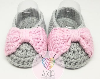 Ribbon crocheted Baby Shoes-ballerinas with bow crochet