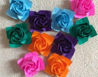 10 Origami Roses
