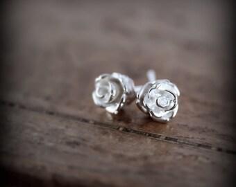 Rose earrings - sterling silver earrings
