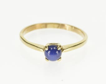 10K Round Blue Star Sapphire Cabochon Prong Set Ring Size 6.75 Yellow Gold