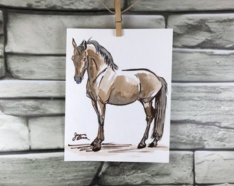"""Horse art original ink & watercolor painting - """"The Skeptic"""" - brown and blue"""
