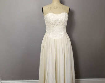 Cream strapless dress / vintage minimalist wedding dress / cream prom dress / cream 90s sweetheart dress / 90s rustic wedding