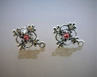 2 pink rhinestone earrings' supports