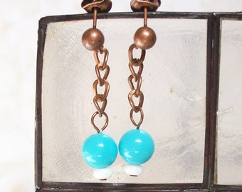 Shell Pearl and Copper Chain Earrings
