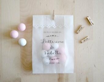 Kit of 10 custom glassine bags for weddings and baby shower