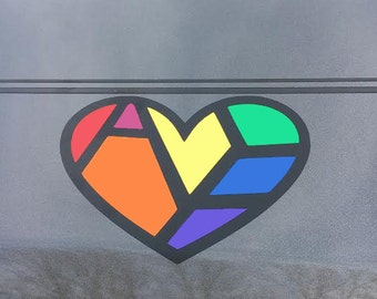 LGBT Ally Hidden Message Vinyl Car Decal - Gay Pride Sticker - LGBT Sticker - Rainbow Heart Decal - Rainbow Decal - Rainbow Bumper Sticker