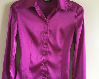 Vintage 90s Purple Blouse Elegant Office Style Size M