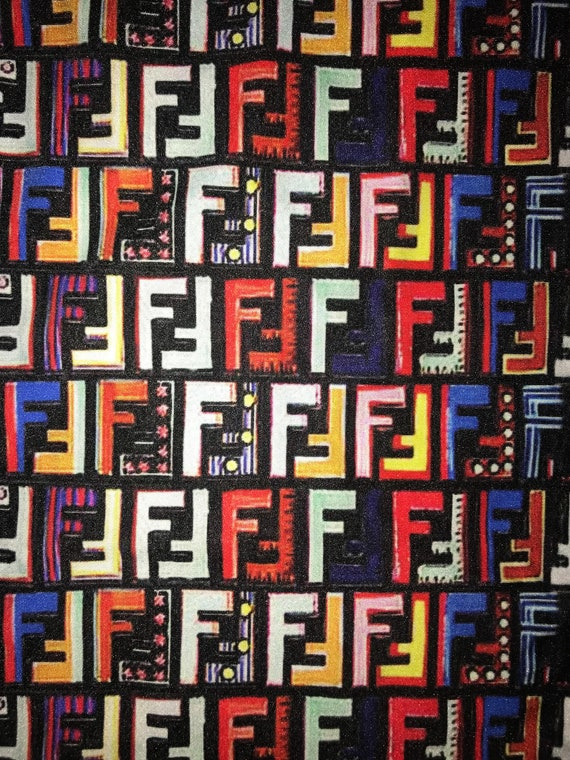 1 Yard Designer Inspired Multicolor Fendi Fabric Sewing Craft Spandex Lycra Made In Usa by Etsy