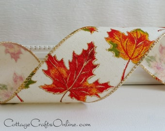 """Fall Wired Ribbon, 2 1/2""""  Red, Orange, Green Maple Leaf Pattern on Cream, Gold Metallic - FIFTY YARD ROLL - """"Scattered"""" Wire Edged Ribbon"""