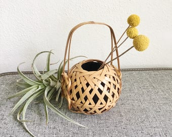 Wicker Rattan Round Basket Planter Vintage Unique