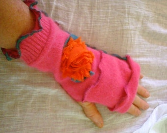 Womens Melon Pink  Lambswool angora Blend Fingerless gloves with orange shabby rose flowers