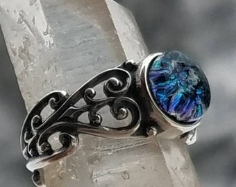 NEW Filigree Heart Flat Cut 8mm Cremation Jewelry Ring 7, 8 Ashes InFused Glass Pet Memorial