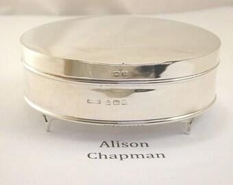 Silver oval trinket box 1910 purple velvet lining 95.3 mm wide 87.7g