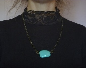 bronze chain necklace with turquoise pendant