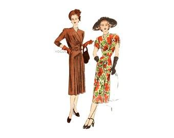 1940s Dress Pattern Vogue 5991, Asymmetrical Surplice Bodice, Draped Skirt, Bust 40, Vintage Day or Evening Dress Pattern, Gorgeous