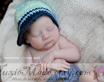 Baby Hat 3-6 Months, Baby Boys Hat, Crochet Baby Hat, Blue Baby Hat, Hat for Baby Boy, Hat for Infant Boys, Newsboy for Baby, Photo Prop Hat