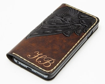 Handtooled - iPhone 7 Leather Wallet Case / iPhone 7 Leather Case / iPhone 6 Leather Wallet / Personalized Free Monogrammed / Unique Gift