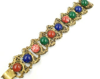 Victorian Revival Colorful Glass Cabachon Bracelet with Book Chain Link Bracelet, Art Glass Cabs, Wide Gold Bracelet, Jeweled Cab Bracelet