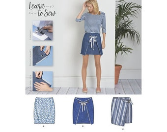 Simplicity Pattern 8300 Misses' Skirts with Front Variations. Size 6-18.