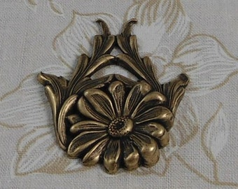 LuxeOrnaments Oxidized Brass Filigree Daisy Flower Focal 40x33mm (1 pc) F-A3757-B