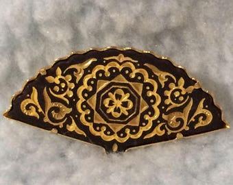 Vintage Damascene Fan Brooch Pin