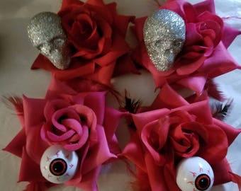 Halloween, Skull flower, Skull, Eyeball flower, Eyeball, Horror, Horror movie, Pink flower, Red flower