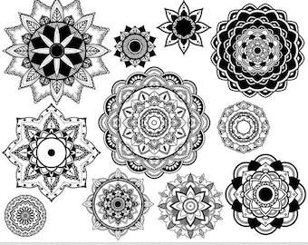 Mandala Clipart Vector Mandala Clip Art Henna Tattoo Lotus Flower Clipart Digital Mandala Scrapbooking Tribal Oriental