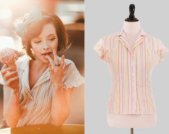 Vintage 70s Flutter Sleeve Collar Button-Up Top w/vertical Teal/Purple/Pink/Yellow Stripes