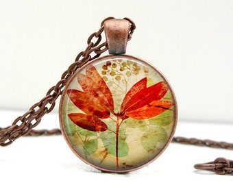 Vintage Inspired Leaf Necklace : Red Orange Leaf Glass Art Pendant Picture Pendant Photo Pendant (1566)