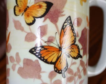 Vintage Otagiri Mug with Monarch Butterfly and Flowers