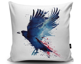 Flying Crow Illustration Cushion by Robert Farkas | Inspired by Game of Thrones | Bird Cushion | Raven Art Pillow