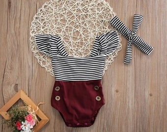 Kids Baby Girl Cute Romper Jumpsuit Bodysuit+Headband Clothes Outfits burgundy stripes