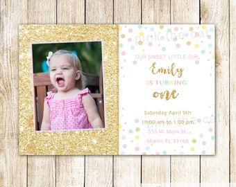 Glitter Invitation Confetti Invitation Girl Birthday Confetti Party Invitation Glitter 1st Birthday Invitation Girl 1st Birthday Invitation