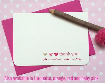 Thank you card pack with coloured envelopes in pink, orange, red, turquoise or baby pink - 10 wedding thank you cards - gold glitter heart