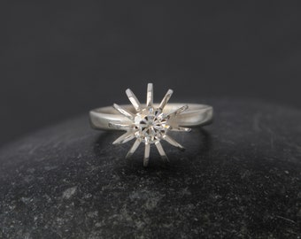 Moissanite Engagement Ring - Solitaire Moissanite Ring - Moissanite Sea Urchin Ring in Silver - Contemporary Engagement Ring - Made to Order