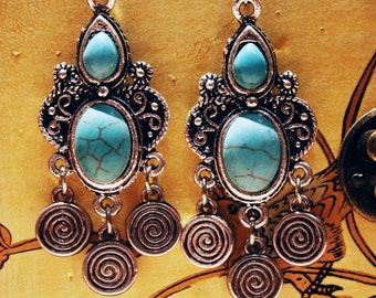 Turquoise Chandalier Earrings Ethnic Jewelry