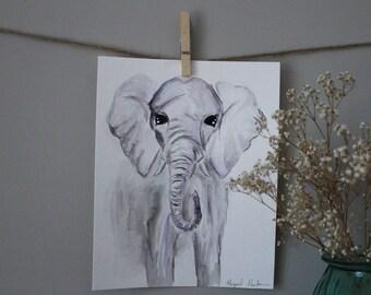 ORIGINAL Watercolor Baby Nursery Safari Animals Wall Art Elephant