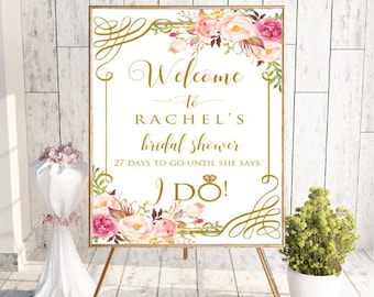 Welcome Bridal Shower Sign, Floral Peony Welcome Bridal Shower Decor Printable Sign, Floral Welcome to Bridal Shower Wedding, #RC