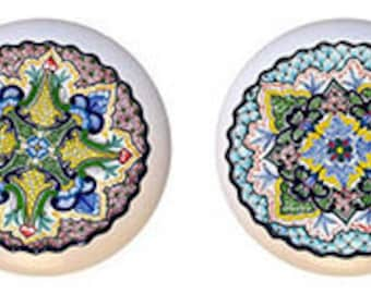 Set of 4 Talavera Style Ceramic Knobs or Pulls for Furniture or Cabinets  Pastel Blue Tones