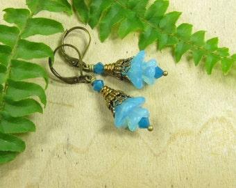 Arctic flowers earrings earrings brass bronze, glass flowers, glass flowers blue light blue, vintage style, earrings with flowers flowers