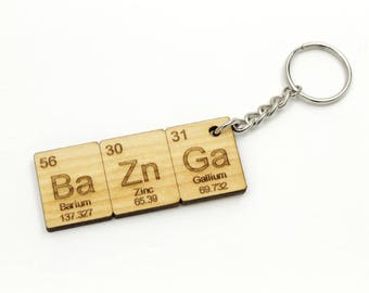 Bazinga Keychain - Made in USA ! Ba Zn Ga Key chain.  - Chemistry Elements Keychain or Backpack Clip. Fun Gift Idea!